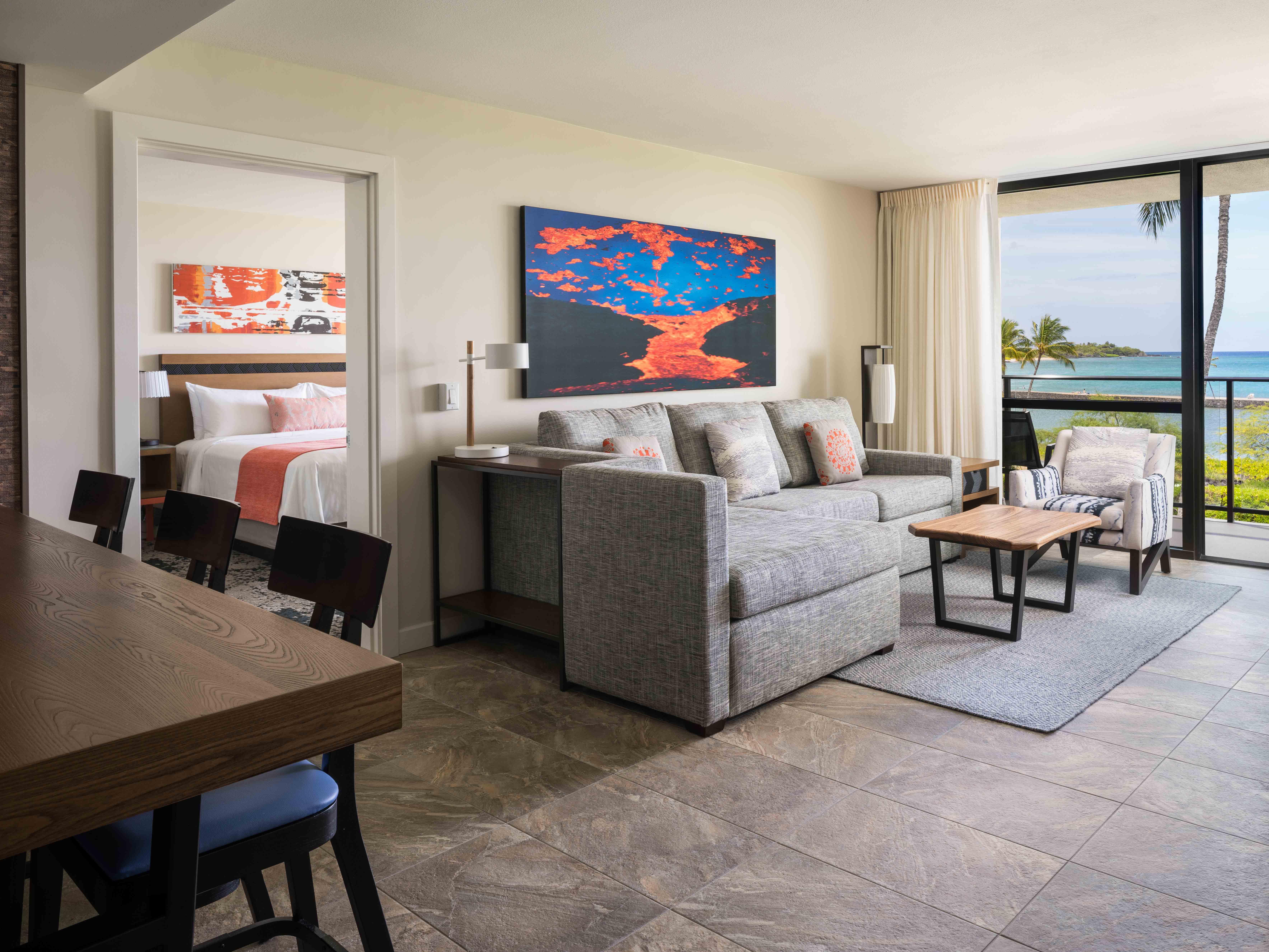 Marriott's Waikoloa Ocean Club Villa Living Room . Marriott's Waikoloa Ocean Club is located in Waikoloa Beach, Big Island, Hawai'i United States.