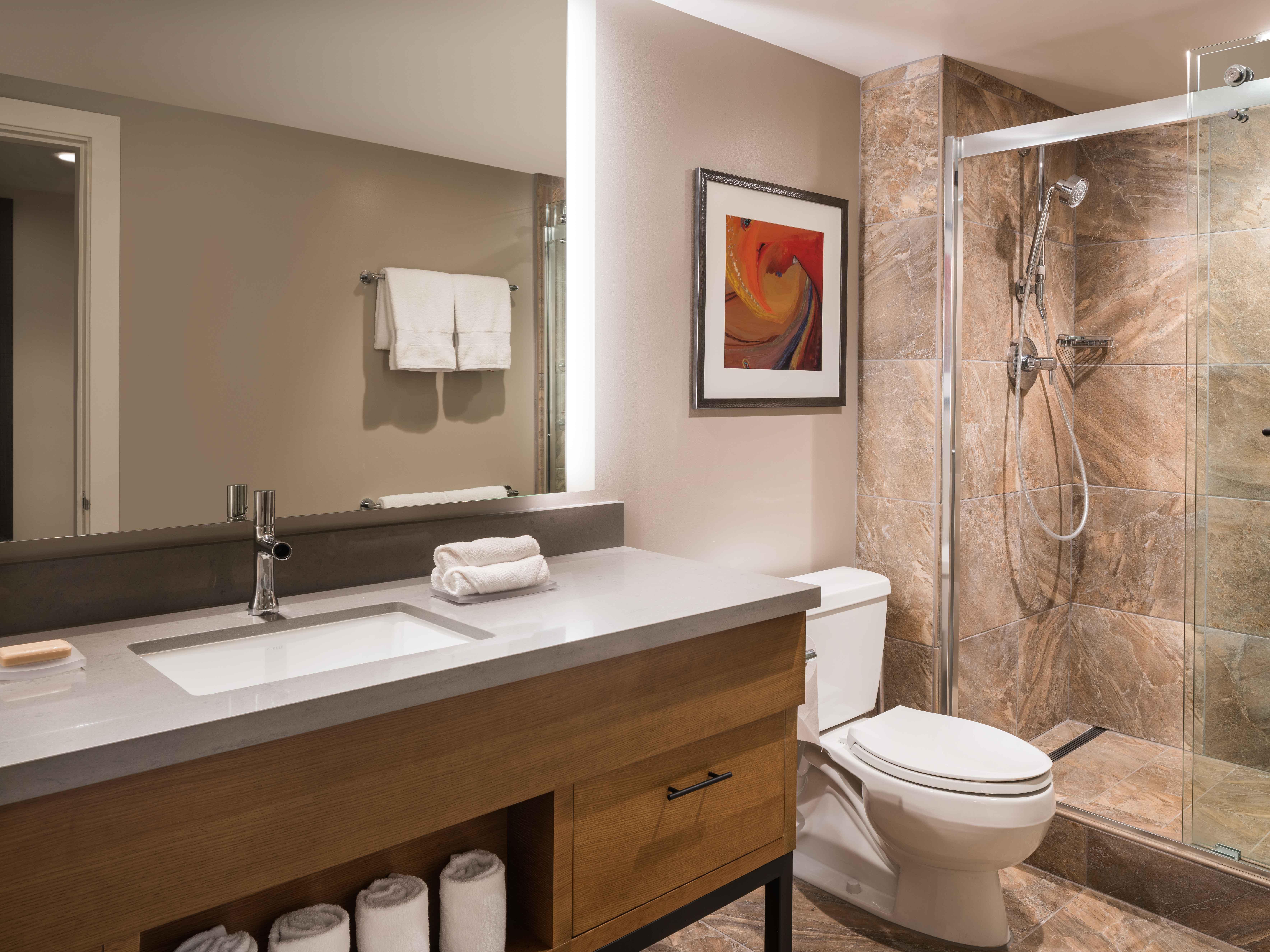 Marriott's Waikoloa Ocean Club Master Bathroom. Marriott's Waikoloa Ocean Club is located in Waikoloa Beach, Big Island, Hawai'i United States.