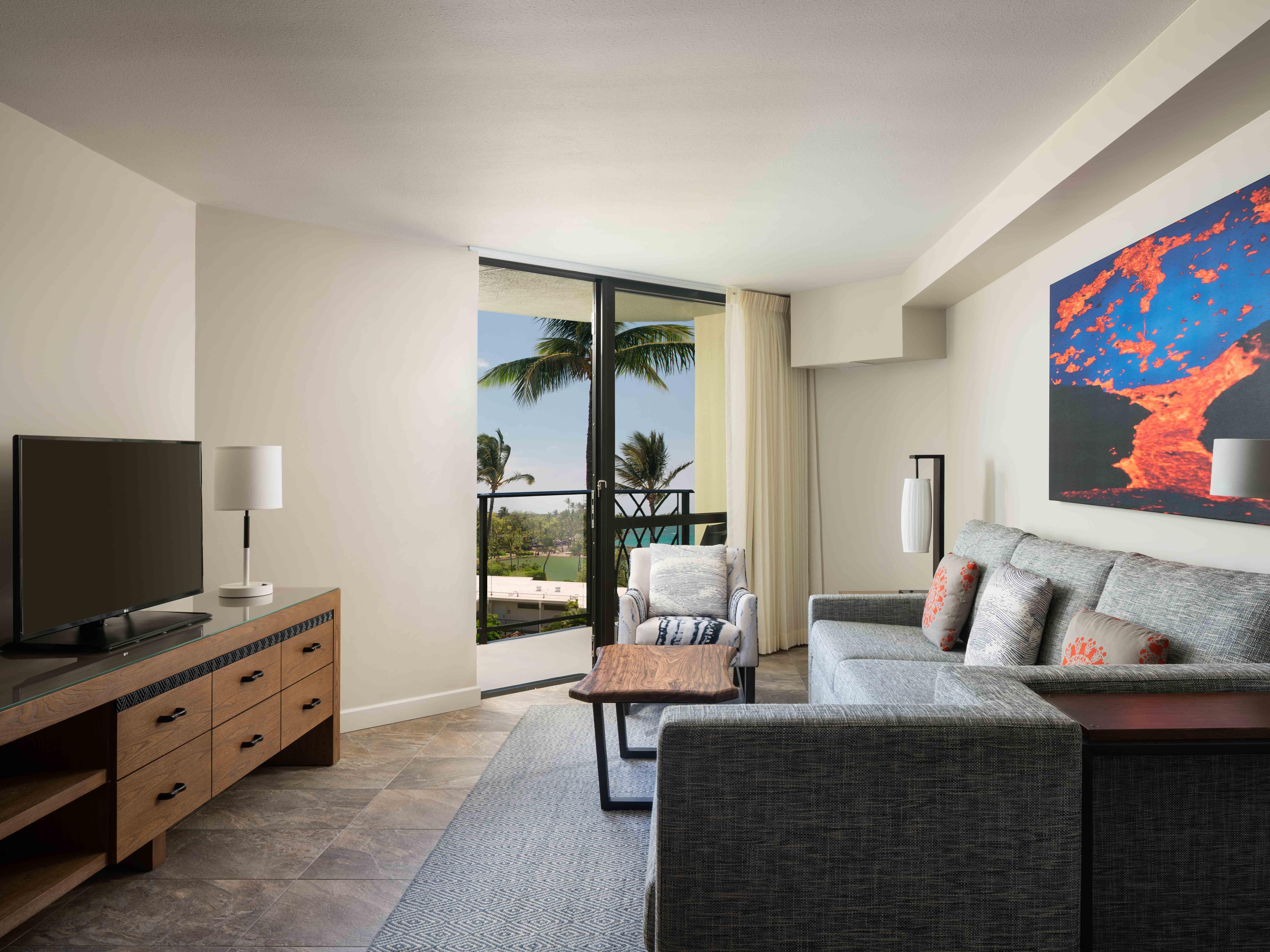 Marriott's Waikoloa Ocean Club Villa Living Room. Marriott's Waikoloa Ocean Club is located in Waikoloa Beach, Big Island, Hawai'i United States.