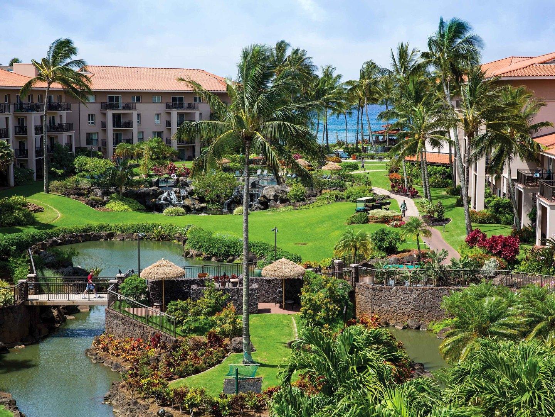 Marriott's Waiohai Beach Club Aerial View. Marriott's Waiohai Beach Club is located in Koloa, Kauai, Hawai'i United States.