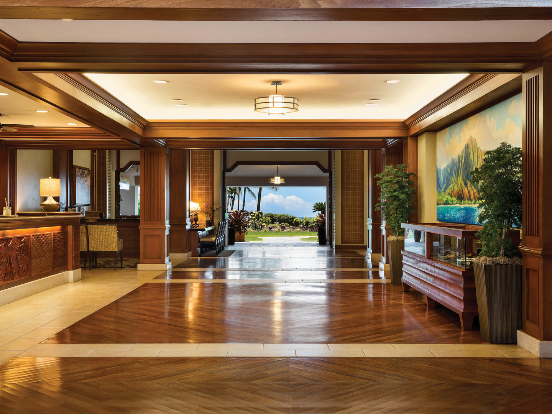 Marriott's Waiohai Beach Club Lobby. Marriott's Waiohai Beach Club is located in Koloa, Kauai, Hawai'i United States.