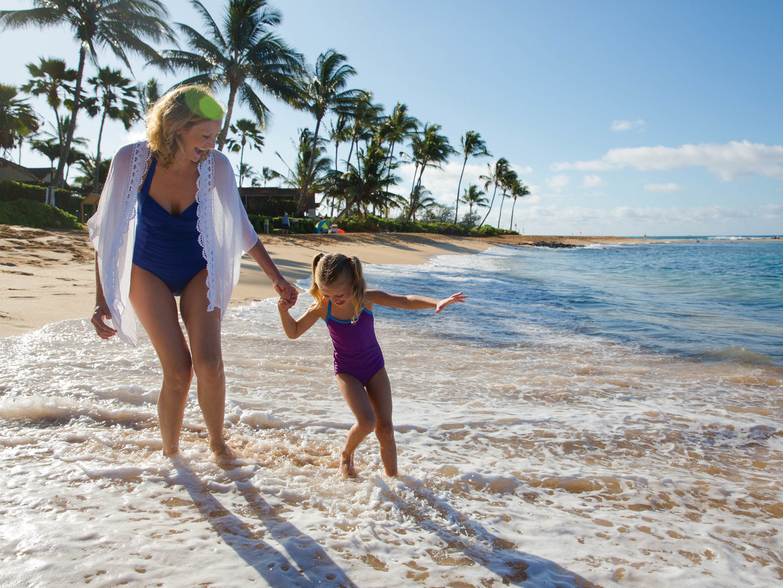Marriott's Waiohai Beach Club Ocean Front Stroll with Mom. Marriott's Waiohai Beach Club is located in Koloa, Kauai, Hawai'i United States.