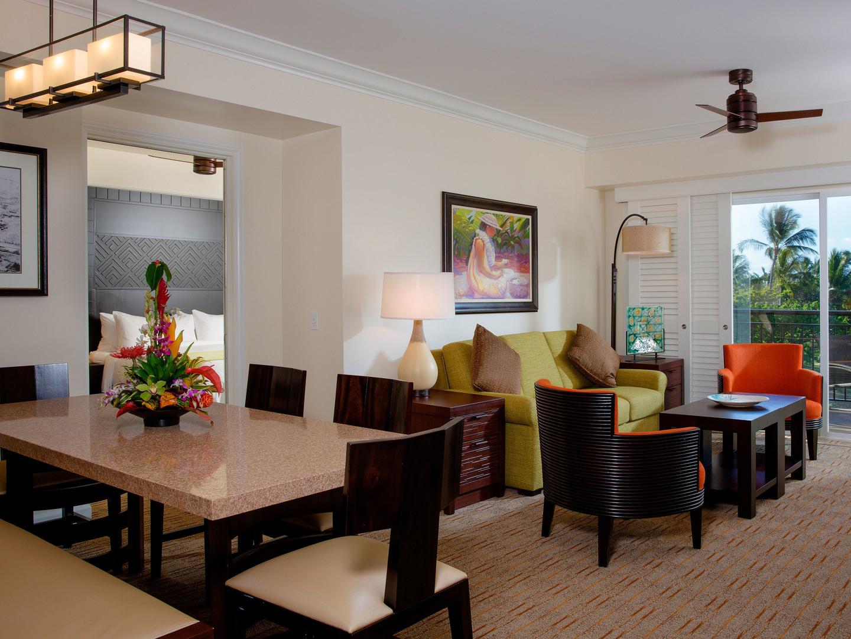 Marriott's Waiohai Beach Club Villa Living Room. Marriott's Waiohai Beach Club is located in Koloa, Kauai, Hawai'i United States.