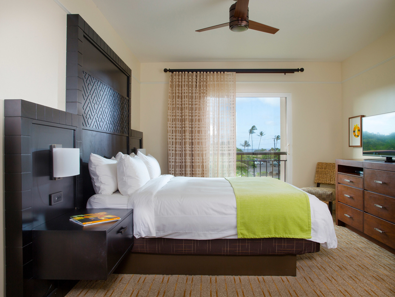 Marriott's Waiohai Beach Club Villa Master Bedroom. Marriott's Waiohai Beach Club is located in Koloa, Kauai, Hawai'i United States.