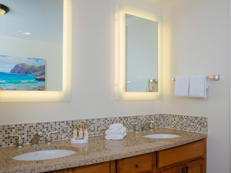 Marriott's Waiohai Beach Club Villa Master Bathroom. Marriott's Waiohai Beach Club is located in Koloa, Kauai, Hawai'i United States.