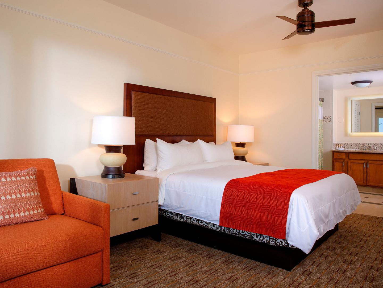 Marriott's Waiohai Beach Club Villa Guest Bedroom, Double bed. Marriott's Waiohai Beach Club is located in Koloa, Kauai, Hawai'i United States.