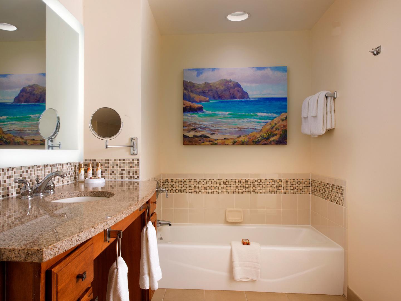 Marriott's Waiohai Beach Club Villa Guest Bathroom. Marriott's Waiohai Beach Club is located in Koloa, Kauai, Hawai'i United States.