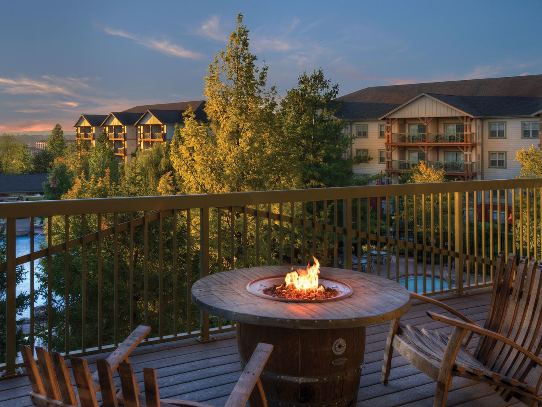 Marriott's Willow Ridge Lodge Outdoor Gathering Space with a View. Marriott's Willow Ridge Lodge is located in Branson, Missouri United States.
