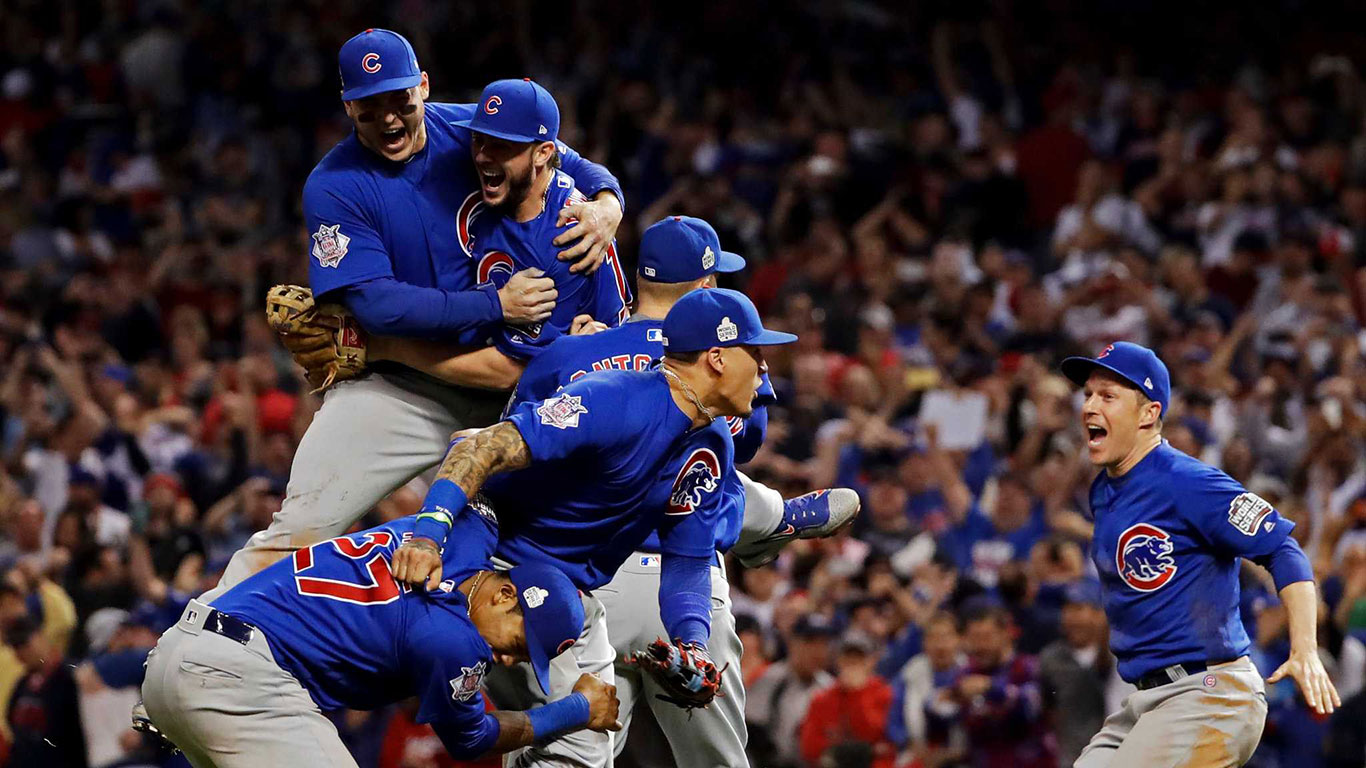 The Chicago Cubs celebrating their baseball World Series win.
