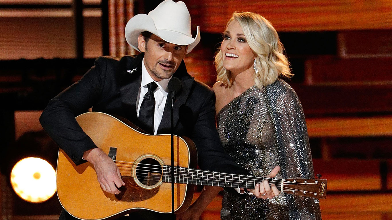 Brad Paisley and Carrie Underwood at the Country Music Awards. Customize your own CMA specialty package.