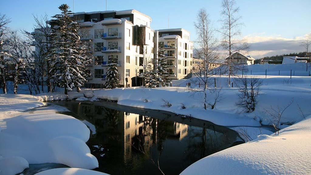 A snowy view outside Yama Shizen resort properties in Hokkaido, Japan.