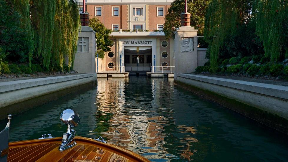 Canal entrance view of the JW Marriott Venice Resort & Spa.